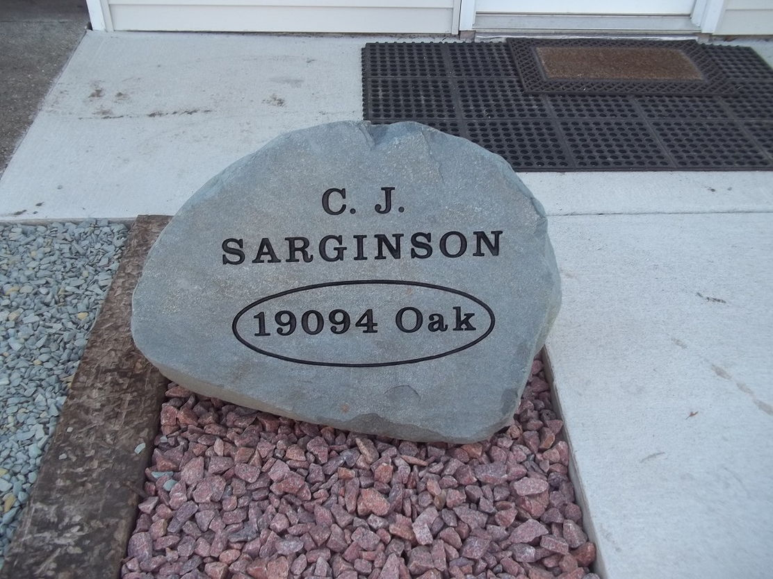 personalized landscaping stone with address Always in Stone Goshen Indiana