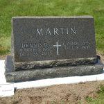 slanted grave marker